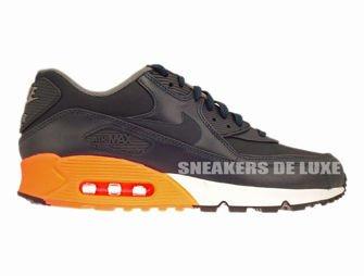 designer fashion bf770 c5f92 333888-402 Nike Air Max 90 Premium Dark ObsidianDark ObsidianMedium Basic  GreyOrange 333888-402 Nike  mens